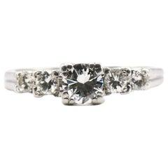 Platinum Old European Cut 5-Stone 1 Carat Diamond Engagement Ring