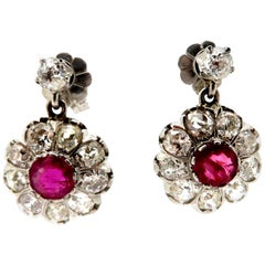 Platinum Old European Cut Diamond and Ruby Antique Dangle Halo Earrings
