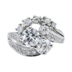 Platinum Old European Cut Diamond Cocktail Ring