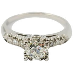 Platinum Old European Cut Diamond Engagement Ring