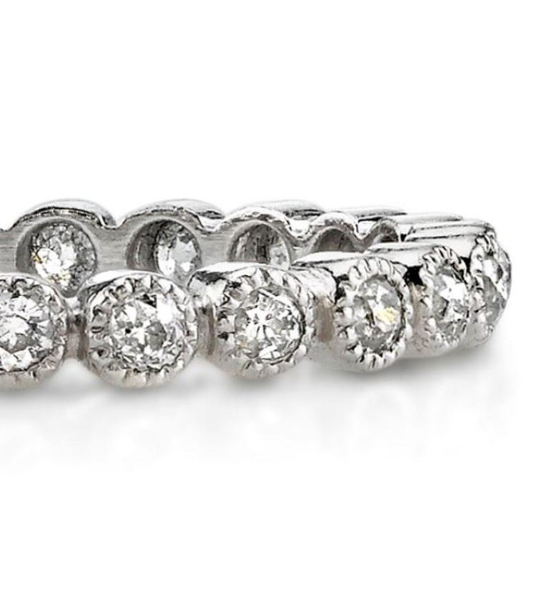 Approximately 0.70ctw old European cut diamonds set in a handcrafted bezel set platinum eternity band.   All of our jewelry is individually made to order in Los Angeles, please allow 6-8 weeks for delivery.   Please list the requested size upon