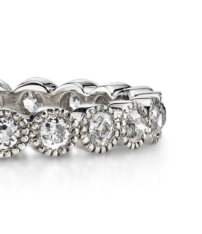 Contemporary 1.00 Carat Old European Cut Diamonds Set in a Handcrafted Platinum Eternity Band For Sale