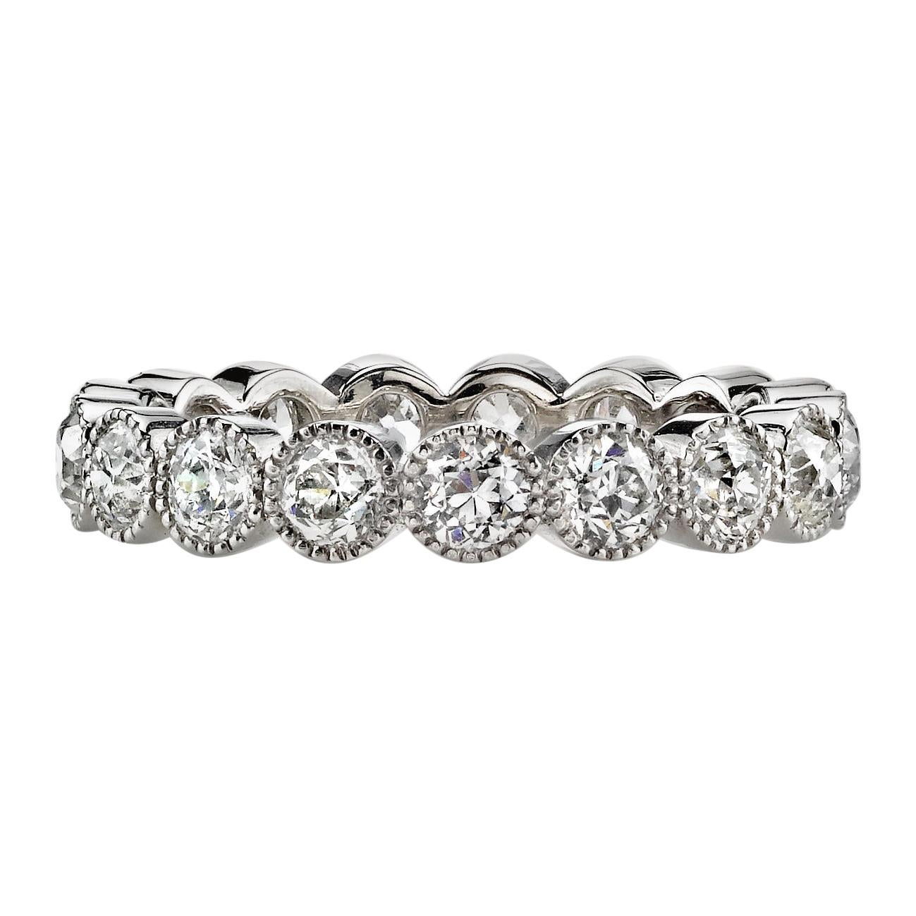 1.75 Carat Old European Cut Diamonds Set in a Handcrafted Platinum Eternity Band