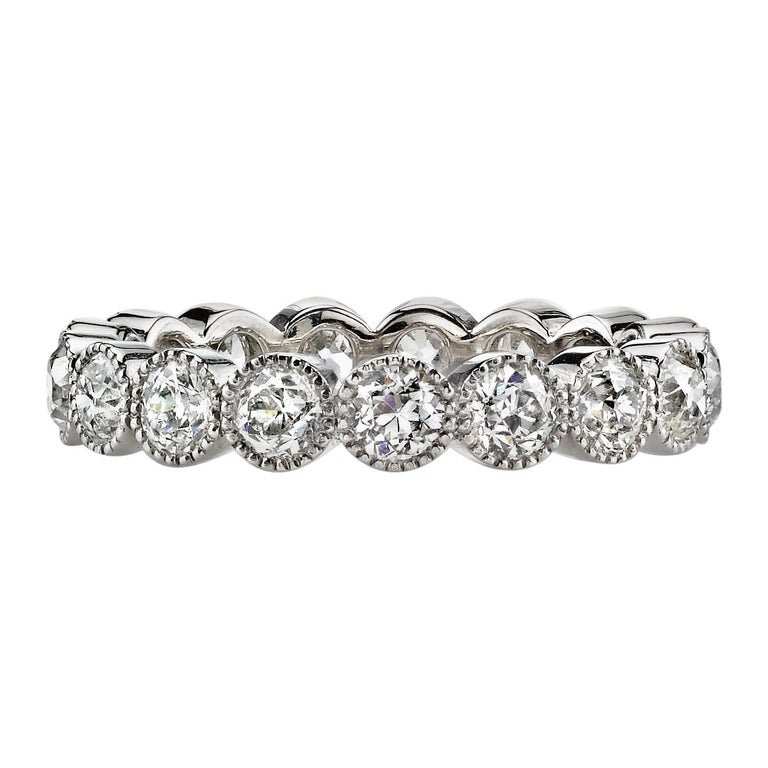 1.75 Carat Old European Cut Diamonds Set in a Handcrafted Platinum Eternity Band For Sale