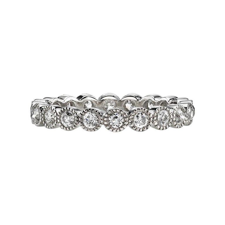 1.00 Carat Old European Cut Diamonds Set in a Handcrafted Platinum Eternity Band For Sale