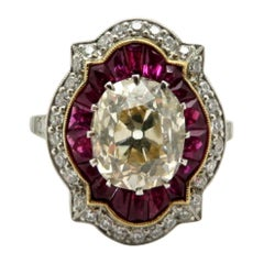 Platinum Old Mine Cushion Cut and Ruby Antique Art Deco Style Engagement Ring