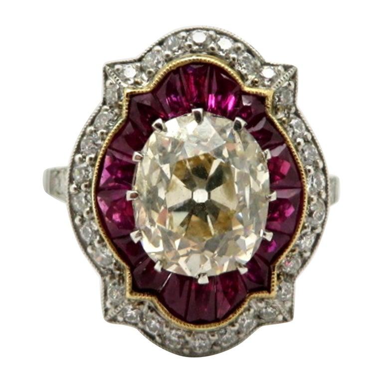 Ruby Engagement Rings For Sale: Platinum Old Mine Cushion Cut And Ruby Antique Art Deco