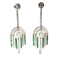 Platinum Old Mine Cut Diamond and Emerald Dangle Art Deco Style Earrings