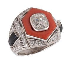 Platinum Onyx and Diamond Ring