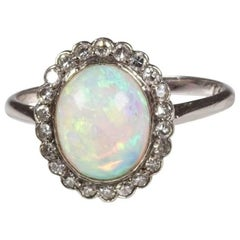 Edwardian Opal Diamond Cluster Platinum Ring