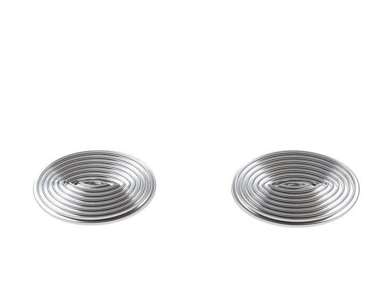 Contemporary Platinum Optical Art Cyclops Cuff links For Sale