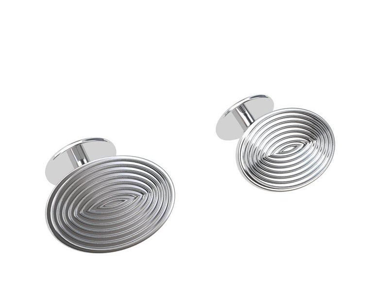 Platinum Optical Art Cyclops Cuff links In New Condition For Sale In New York, NY