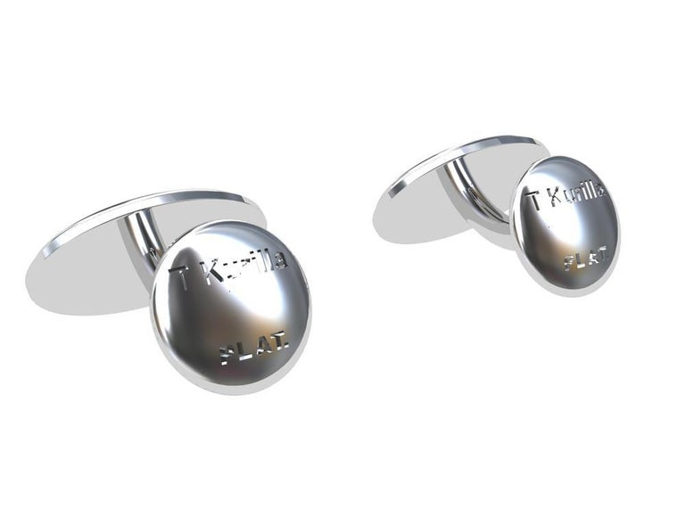Women's or Men's Platinum Optical Art Cyclops Cuff links For Sale
