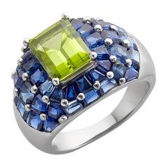 Platinum Oscar Heyman Peridot and Sapphire Domed Ring