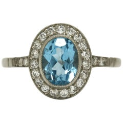 Platinum Oval Aqua Blue Topaz Diamond Halo Art Deco Inspired Engagement Ring