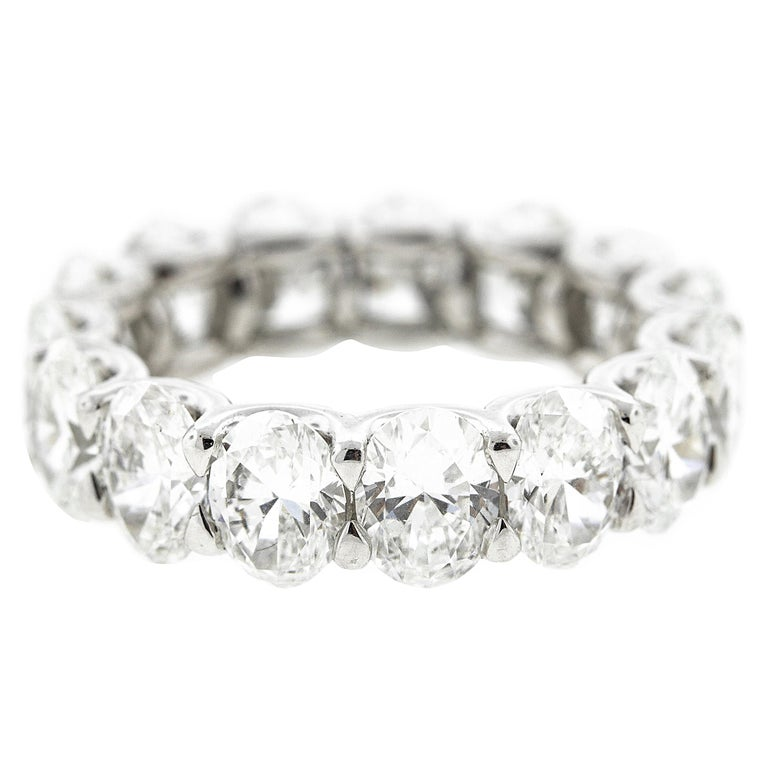 Platinum Oval Diamond Eternity Band 'GIA Certified' For Sale