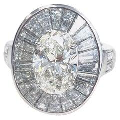 Platinum Oval Diamond 3.00 CT, with Baguettes and Round Diamonds  Ring