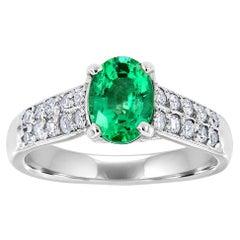 Platinum Oval Green Emerald and Diamond Ring 'Center- 0.93 Carat'