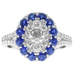 Platinum 'PT950' Oval Shape Split Band Ring with Blue Sapphires and Diamonds