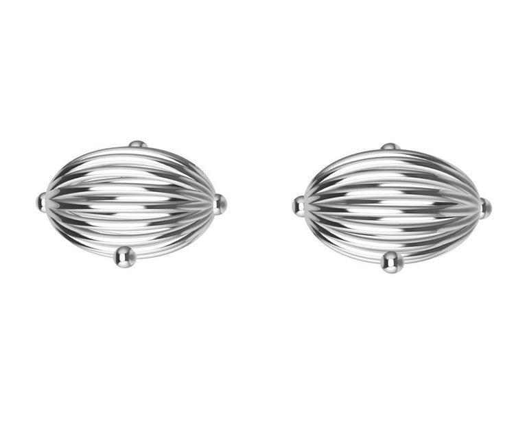 Contemporary Platinum Oval Wire Sphere Cufflinks For Sale