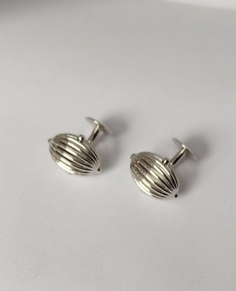 Women's or Men's Platinum Oval Wire Sphere Cufflinks For Sale