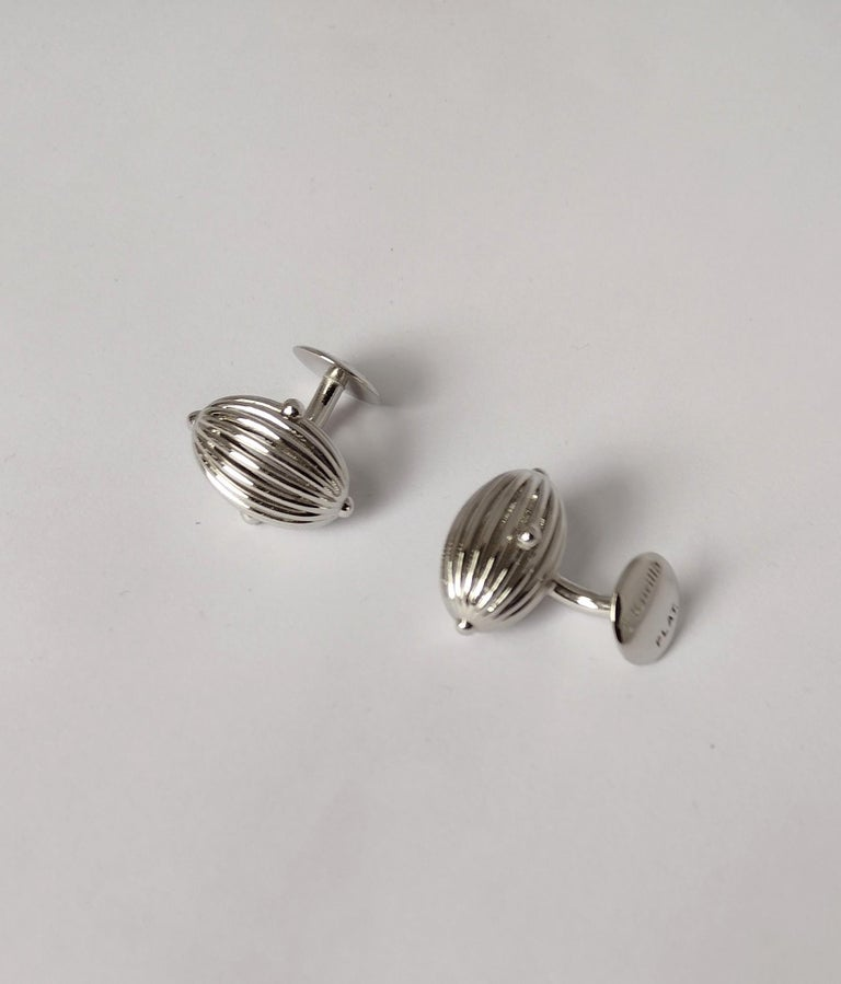 Platinum Oval Wire Sphere Cufflinks For Sale 1