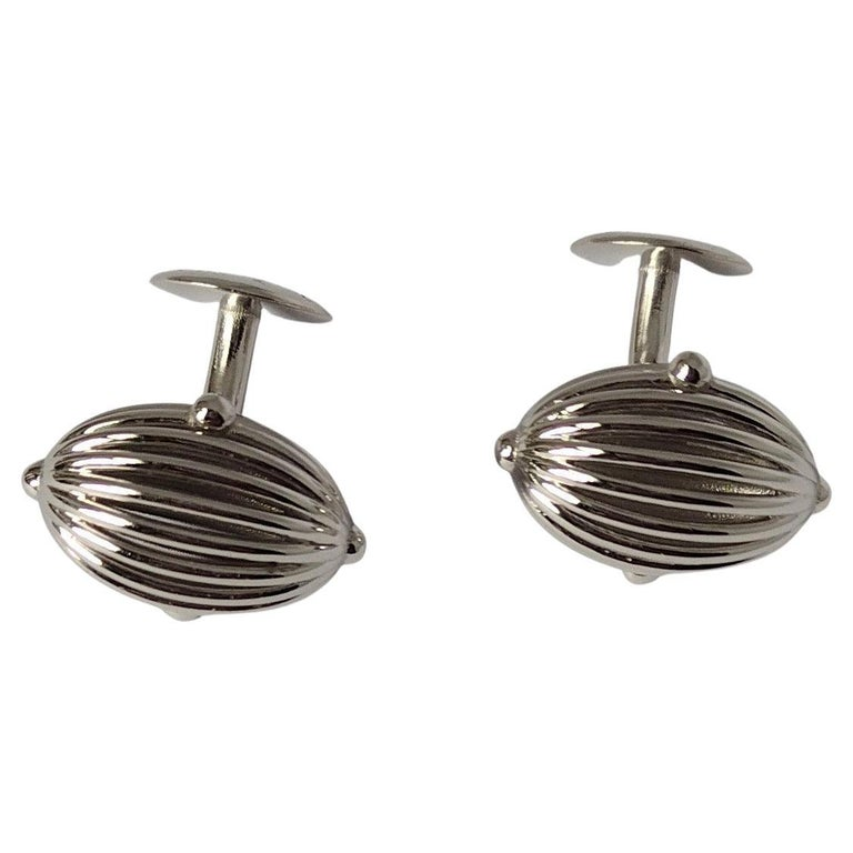 Platinum Oval Wire Sphere Cufflinks For Sale