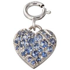 AENEA Palladium Platinum Blue Sapphires Heart Charm Pendant