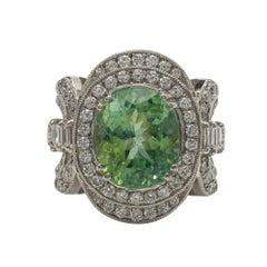 Platinum, Paraiba Tourmaline and Diamond Ring