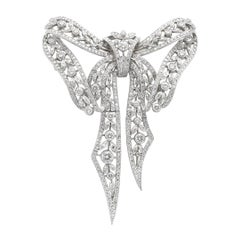 Platinum Pave 9.55 Carat Diamond Bow Pin