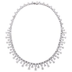Platinum, Pear Shape, Baguette and Round Brilliant Cut Diamond Necklace