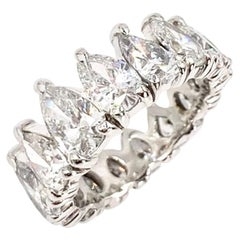 Platinum Pear Shape Diamond Eternity Band Ring