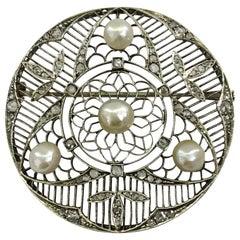 Platinum Pearl and Diamond Brooch