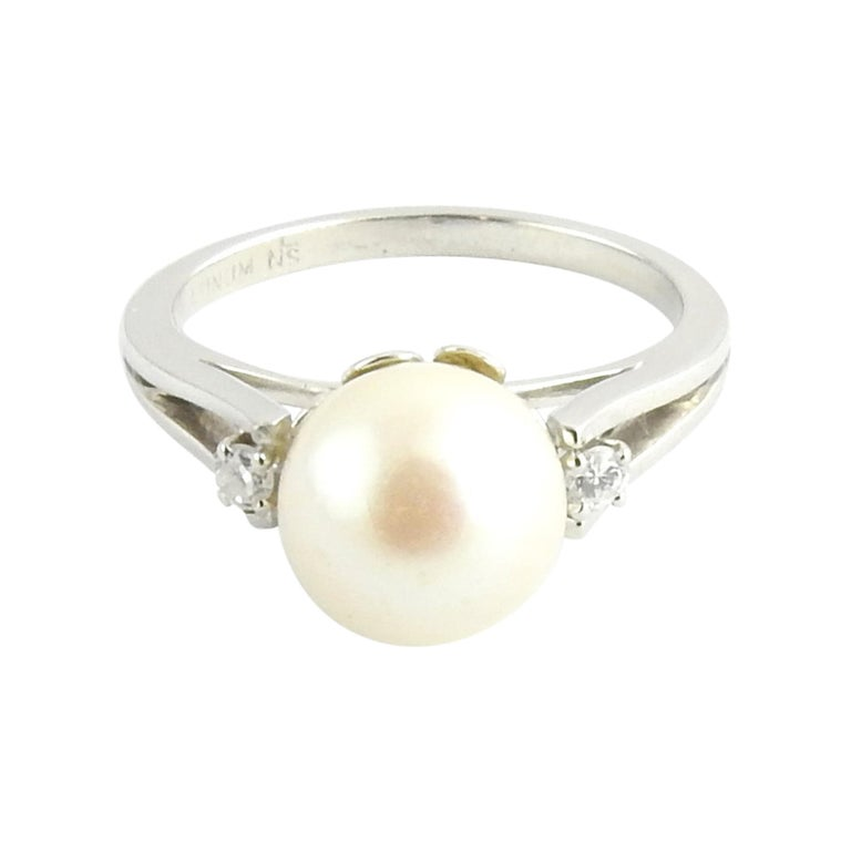 Platinum Pearl and Diamond Ring For Sale