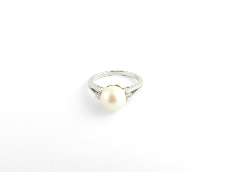 Platinum Pearl and Diamond Ring For Sale 1