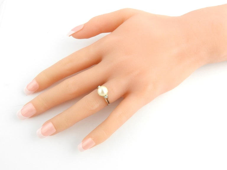Platinum Pearl and Diamond Ring For Sale 2