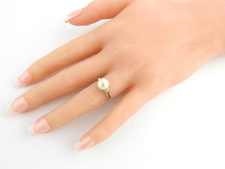 Platinum Pearl and Diamond Ring For Sale 3