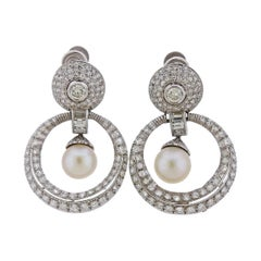 Platinum Pearl Diamond Doorknocker Earrings
