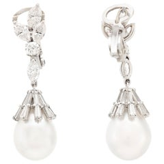 4.00 Carat Diamonds Pearls Drop Earrings