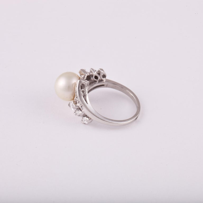 Platinum Pearl Diamond Ring In Good Condition For Sale In Houston, TX
