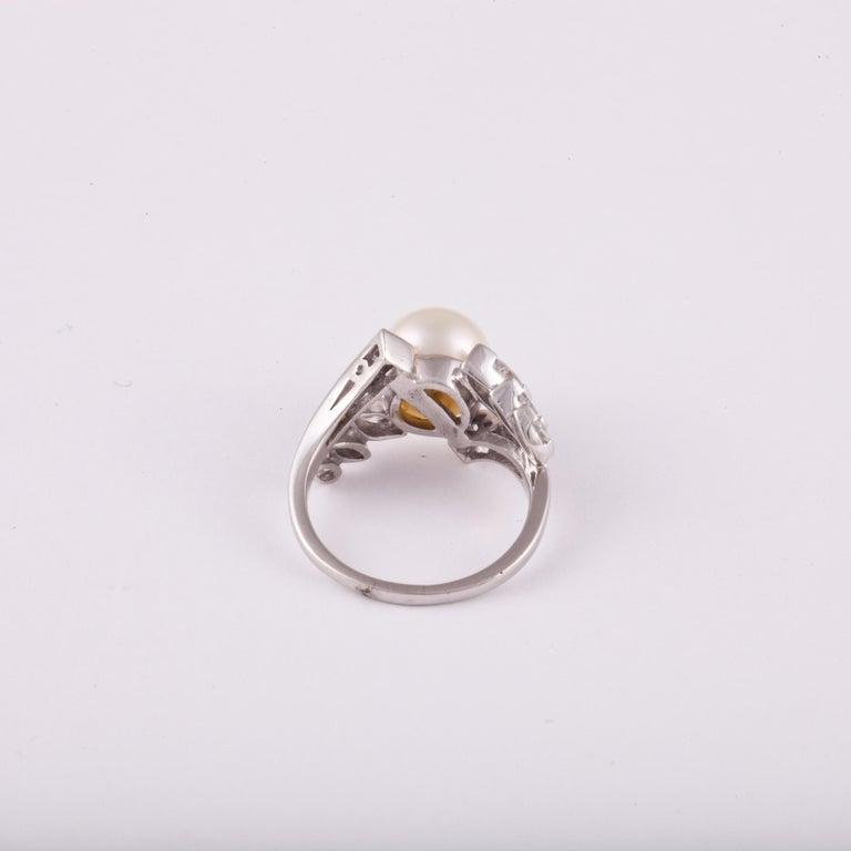 Women's or Men's Platinum Pearl Diamond Ring For Sale