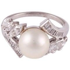 Platinum Pearl Diamond Ring