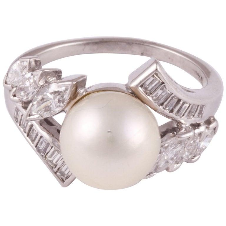 Platinum Pearl Diamond Ring For Sale
