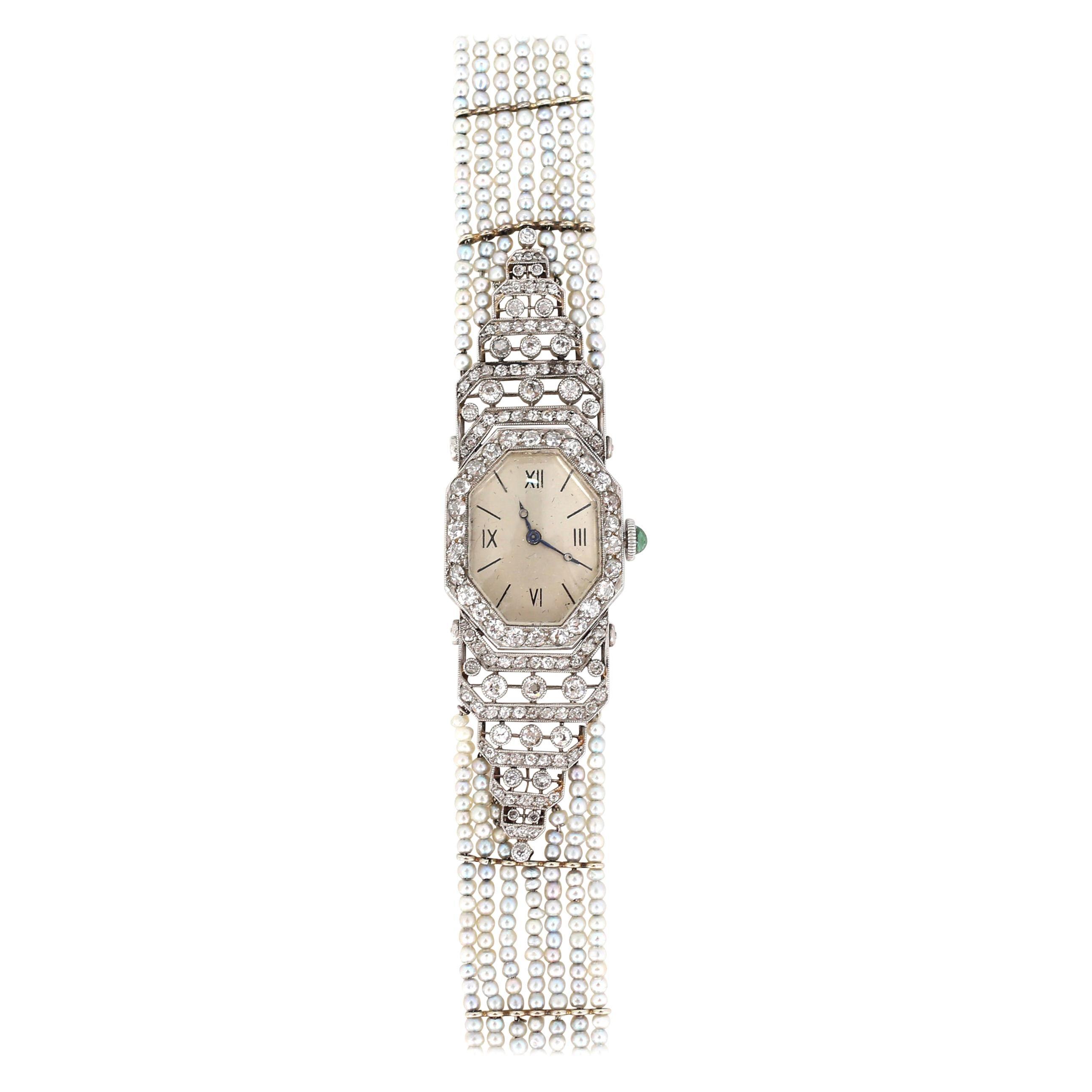 Platinum Pearls Emerald Enamel Diamonds Ladies Watch Art Nouveau, 1930