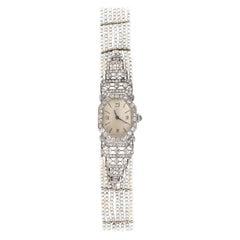 Platinum Pearls Emerald Enamel Diamonds Ladies Watch Art Nouveau