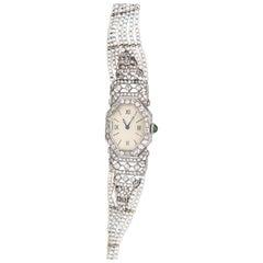 Platinum Pearls Emerald Enamel Diamonds Vintage Ladies Watch