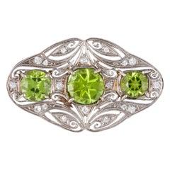 Platinum Peridot Diamond Brooch