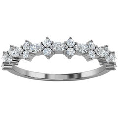 Platinum Petite Marquise & Round Organic Design Diamond Ring '2/5 Ct. tw'