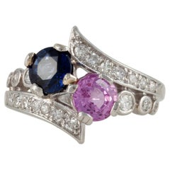 Platinum Pink and Blue Sapphire Diamond Ring