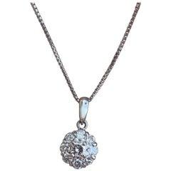 Platinum Pink and White Diamond Flower Pendant Necklace 0.41 Carat 3.7g